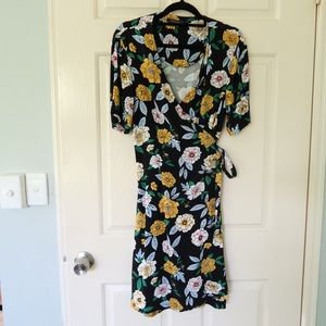 French Connection wrap dress size 10 black floral